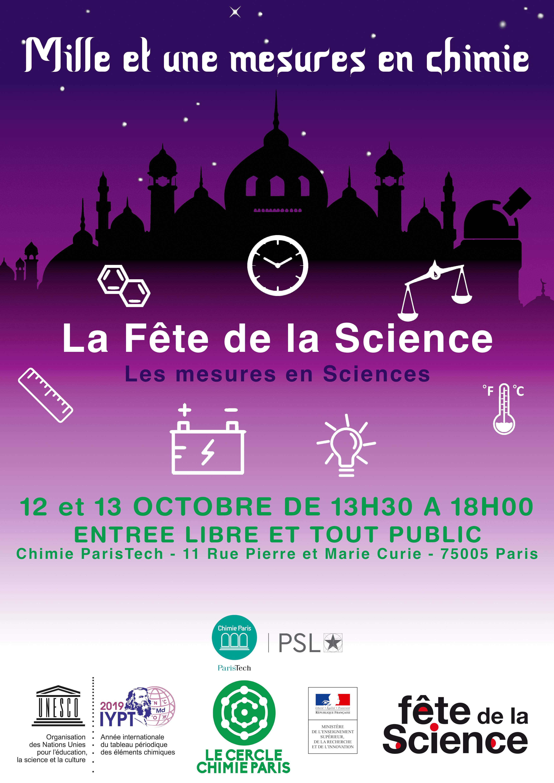 Milles et unes mesures en chimie  12 et 13 Octobre 2019 de 13h30 à 18h00 Entrée libre et tout public Chimie ParisTech - 11 Rue Pierre et Marie Curie - 75005 Paris